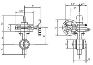 Cấu tạo chi tiết về Van bướm tay quay 300 PSI Kiểu kết nối vòng đệm