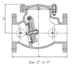 Cấu tạo chi tiết của Van một chiều nối mặt bích size 2-4