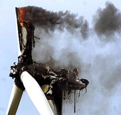 Tuabin điện gió bị cháy
